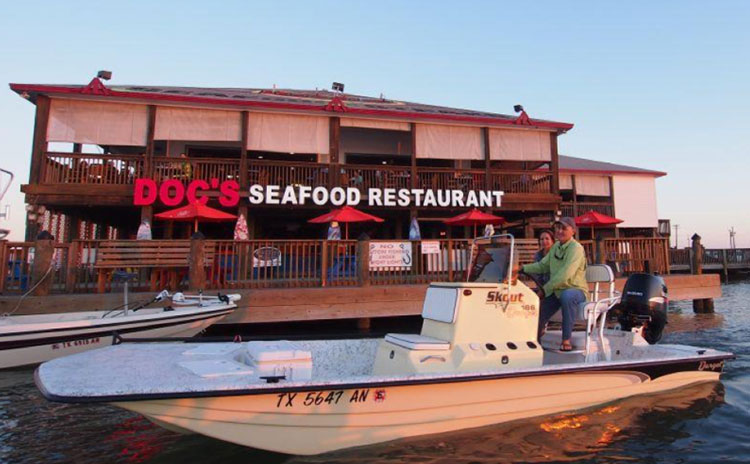 View of Doc's Seafood & Steaks from the water