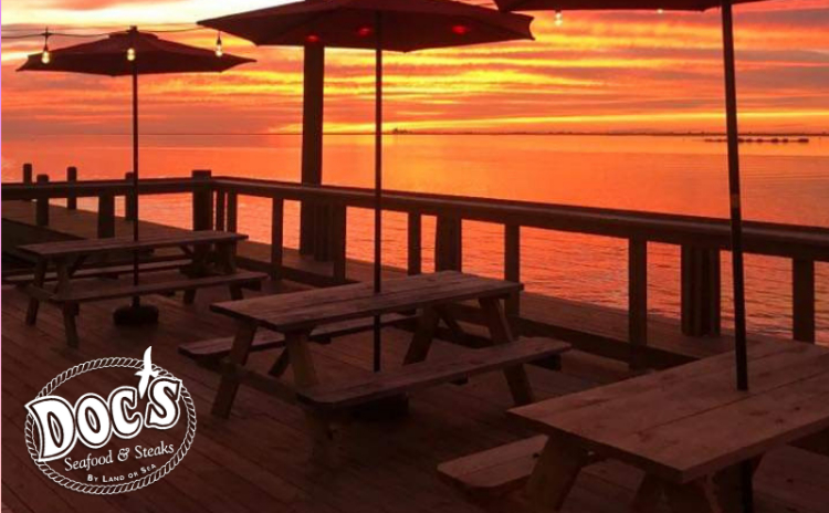 Image of the outdoor patio at Doc's at sunset